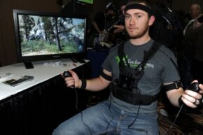 The PrioVR full body harness has 17 body and head sensors to translate body motion into gaming action.