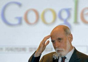Vinton Cerf, a Google Vice President, at the World Knowledge Forum in Seoul, October 2007. Google embodies O'Reilly's vision of a Web 2.0 company.
