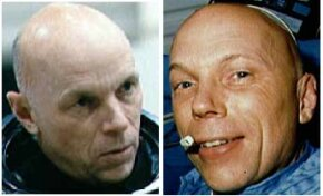 Astronaut Story Musgrave on Earth (left) and in orbit (right). You can see the puffiness around his eyes and cheeks caused by microgravity.