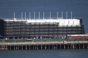 A shot of the mysterious barge being erected in the San Francisco Bay, thought to be an unannounced Google project.