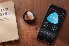 The TZOA is a button-sized sensor that attaches to clothes or a purse, continually monitoring your air quality and streaming that info to an app.