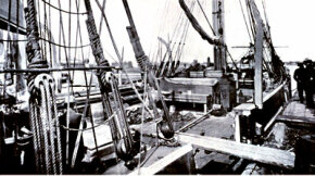 The deck of an early 20th-century whaling vessel. Whaling was once big business in the United States, Russia and many other countries throughout the world.
