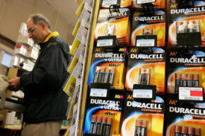 Battery Pictures Duracell batteries are seen on display at the Arguello Supermarket in San Francisco. See more pictures of batteries.