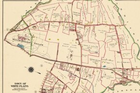 This map of White Plains, New York from 1910 shows the Bloomingdale Asylum property -- a large tract of land -- on the left.