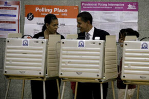Then-presidential candidate Barack Obama votes on Election Day in 2008. See more pictures of Barack Obama.