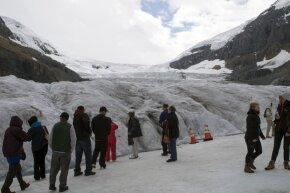 Tourists at the Athabasca Glacier in Alberta, Canada's Banff National Park can Google to their hearts' content.