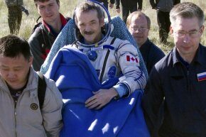 Canadian astronaut Chris Hadfield, seen here right after landing in May 2013, made quite the name for himself when he used the ISS's WiFi to tweet to his followers back on Earth.