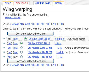 "Revision history for ""Wing warping"" entry"