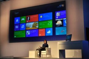 Julie Larson-Green, Corporate Vice President, Windows Experience, shows off the tiled interface for Windows 8.