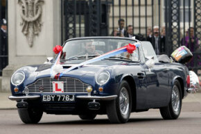 Prince William and Princess Kate leave Buckingham Palace after their wedding reception in Prince Charles' vintage Aston Martin DB6 Volante, which runs on bioethanol -- or fuel made from wine. Want to learn more? Check out these alternative fuel vehicle pictures.