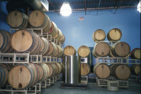 Wine is stored in oak barrels or stainless steel storage tanks.