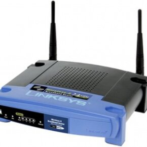 A wireless router uses an antenna to send signals to wireless devices and a wire to send signals to the Internet.