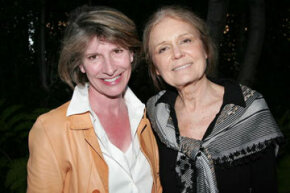 """Katherine Spillar and feminist Gloria Steinem attended """"An Evening with Gloria Steinem"""" in March 2010. The event benefited the Women's Reproductive Rights Assistance Project, which raises money for women who can't afford emergency contraception or a safe abortion."""