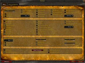 "The ""World of Warcraft"" interface options screen"