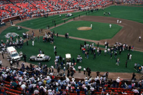 The crowd at Candlestick Park reacts after an earthquake rocked Game Three of the World Series between the Oakland A's and San Francisco Giants in 1989.