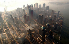 "An aerial view of ""ground zero"" in early October 2001"