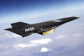 """An artist's conception of the X-43A Hypersonic Experimental Vehicle, or """"Hyper-X"""" in flight."""