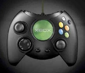 The final design of the standard Xbox game pad, as shown off at the 2001 CES