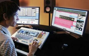 An audio engineer uses Xynergi to manipulate tracks.