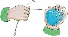 For the first wind, the yo-yo string goes over your forefinger.
