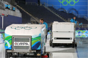 Battle of the ice resurfacing machines at the Vancouver 2010 Winter Olympics! The Resurfice Corp.'s brand Olympia is on the left, while the Zamboni Company's machine is on the right.
