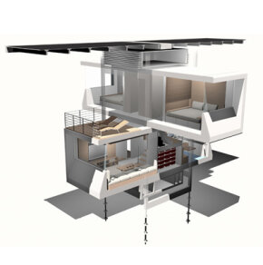 Notice the four helical anchors that lend the zeroHouse stability without disturbing the environment too much.