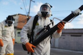 Health workers fumigate in an attempt to eradicate Zika-carrying mosquitoes in Recife, Pernambuco state, Brazil.