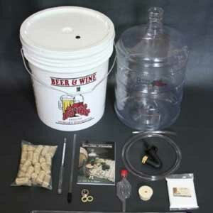 Basic winemaking kits like this give first-time winemakers all they need to get started.