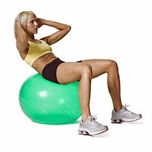 You don't need any fancy equipment to do ab workouts at home, but an inexpensive exercise ball is a helpful accessory.