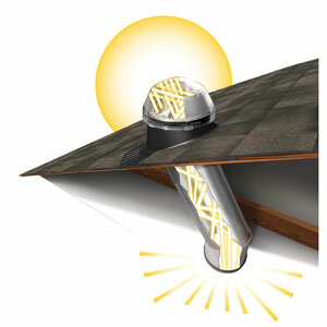 This illustration shows how the SolaTube daylighting device captures and transmits sunlight into a light panel inside a house.