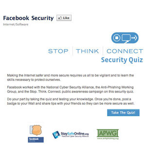 Test your knowledge of Internet security with Facebook's security quiz.