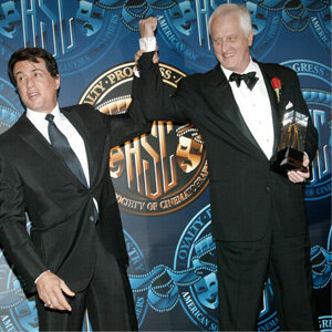 """This 2002 awards ceremony wasn't the first time that Sly and Garrett Brown had hung. Brown had chased Stallone up the step of the Philadelphia Art Museum back in the '70s for """"Rocky."""""""