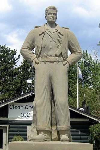 The Steve Canyon Statue was erected by the U.S. Treasury Department.