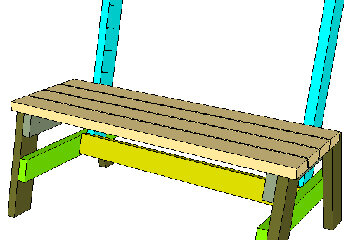 Attach the seat stretcher (in yellow) first, then the slat closest to the back supports, followed by the rest of the slats.