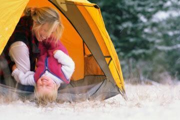 Camping in the snow offers a different set of fun activities.