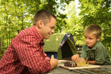 Nothing says camping fun like a friendly game of chess.