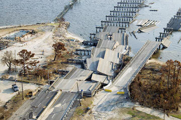 Two bridges lay in ruins near Biloxi and Ocean Springs, Miss., following 2005's devastating Hurricane Katrina.