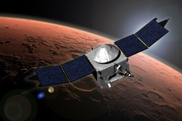 An artist's concept of NASA's MAVEN mission, one that astrobiologists are keenly interested and involved in.