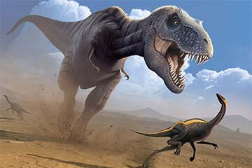 This computer artwork shows a Tyrannosaurus rex dinosaur hunting an Ornithomimus dinosaur. The T. rex was among the largest carnivorous dinosaurs, but was not a swift runner.