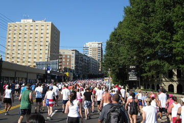 Some of the 55,000 runners of the Peachtree Road Race struggling up Cardiac Hill.