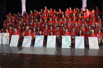 The UCLA Dance Marathon raises money for pediatric AIDS. Here, participants display placards with the grand total of their earnings.