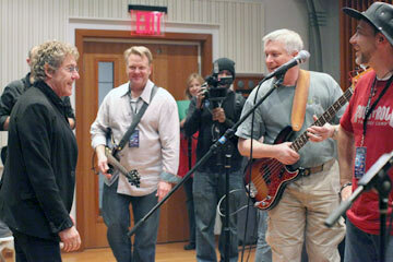 Rock 'n' Roll Fantasy Camp isn't like playing Rock Band on your Wii. It's working alongside some of the greats in the business, including The Who's Roger Daltrey, seen here.
