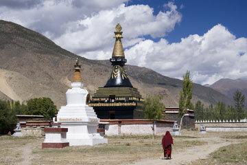 A Buddhist stupa on the grounds of the Samye Monastery in Tibet