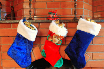 Decorating and hanging stockings is one Christmas tradition you can do with the whole family. See more Christmas pictures.