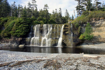 Tsusiat Falls is a popular beach for camping along the West Coast Trail.