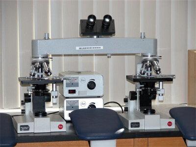 Comparison microscope setup in the CBI serology lab
