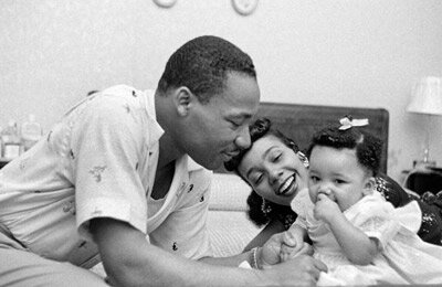 Martin Luther King Jr. and Coretta Scott King with daughter Yolanda