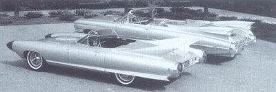 The two-seat 1959 Cadillac Cyclone was dwarfed by a contemporary, the 1959 Cadillac Series 62 convertible in most respects, but the little show car certainly could hold its own in the fin department.