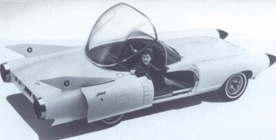 """With its rocket-tube bodywork, soaring blade fins, and pop-up """"bubble"""" canopy for a roof, this dream car embodied all the late-1950s mythology of the budding space age."""