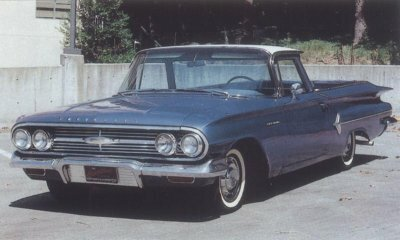 The 1960 Chevrolet El Camino featured toned-down body styling and new jet-themed bright trim.